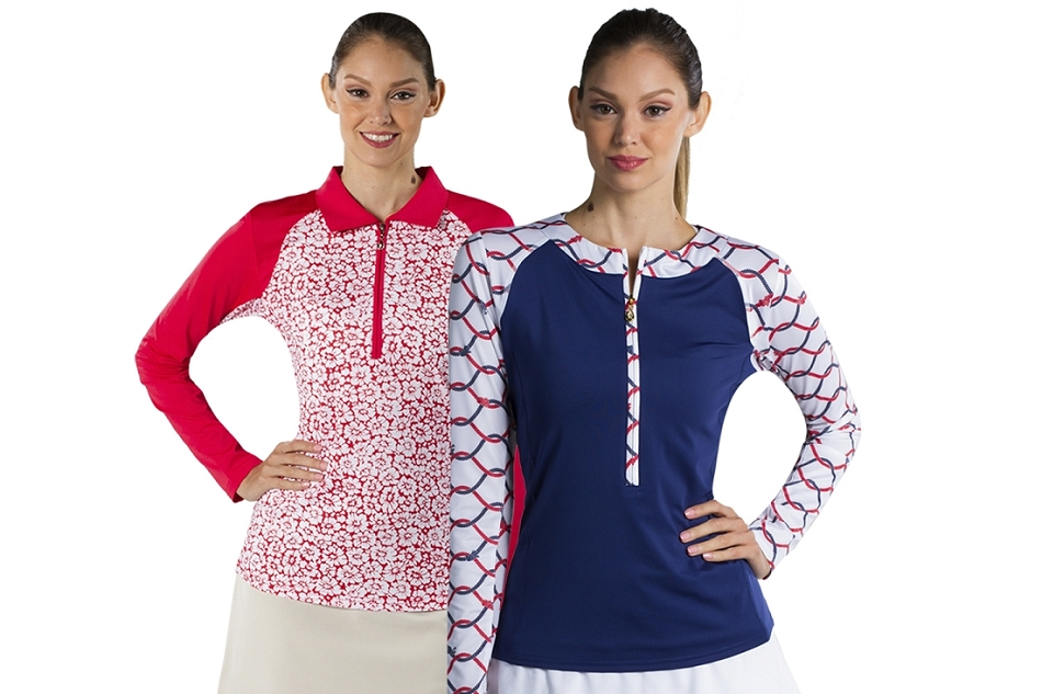 900466 Solcool Zip Tee What Knot Navy and 900468 Solcool Print Polo W/ Solid Trim Gerber Daisy Red. Two Tops for $99