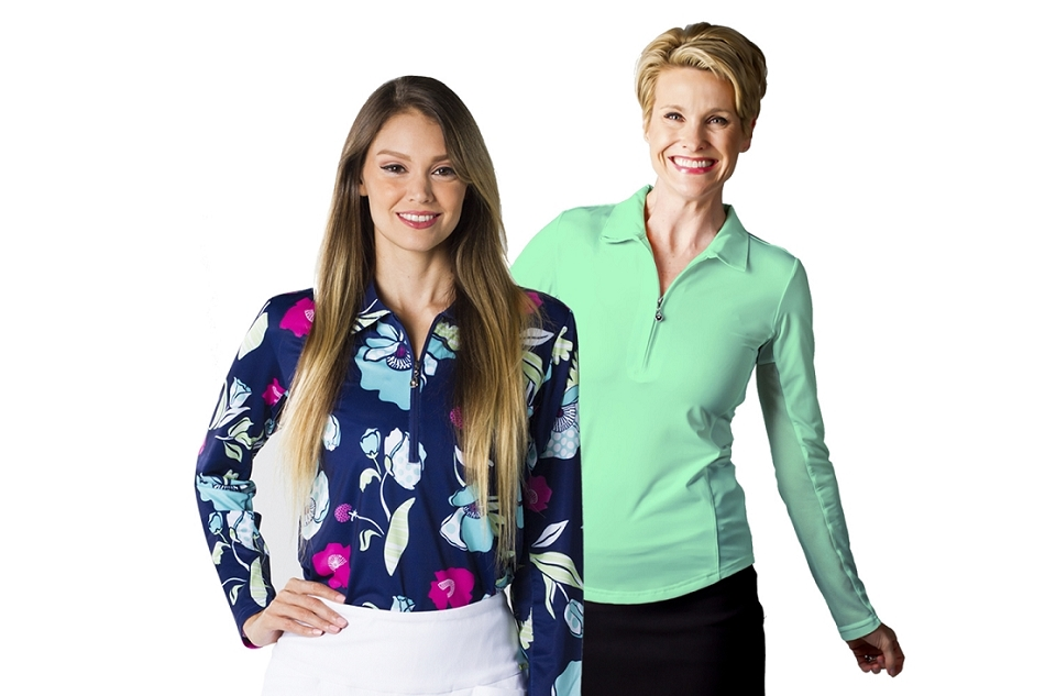 900433 Sunglow L/S Solid Polo W/ Mesh Spring Green and 900462 Solcool Print Polo Poppies. Two Tops for $99.