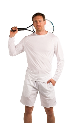 900823 Men's SolCool Crew Neck Tennis Top. White