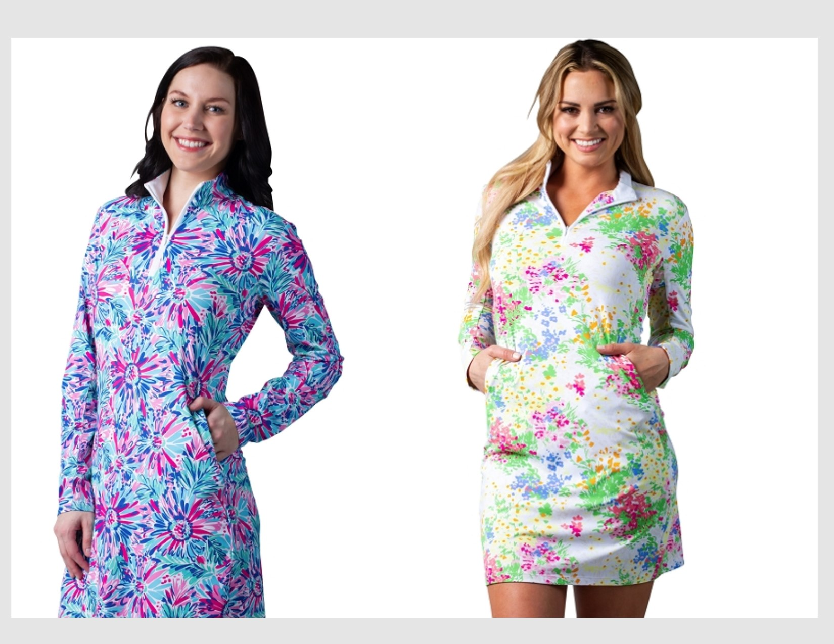 Twofer 900720-C. SanSoleil SolStyle ICE. Long Sleeve Zip Mock Dress with attached athletic short.  Lola Floral  and Provence