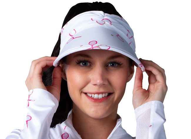 900100 SolCool Print Visor. Match Play Pink
