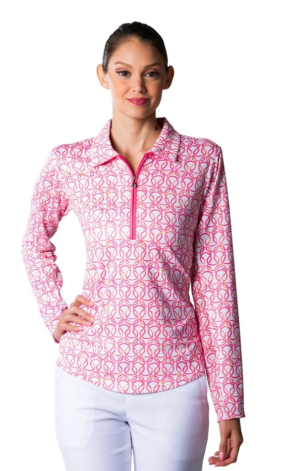 900408 SolTek Print Polo. Looped Pink