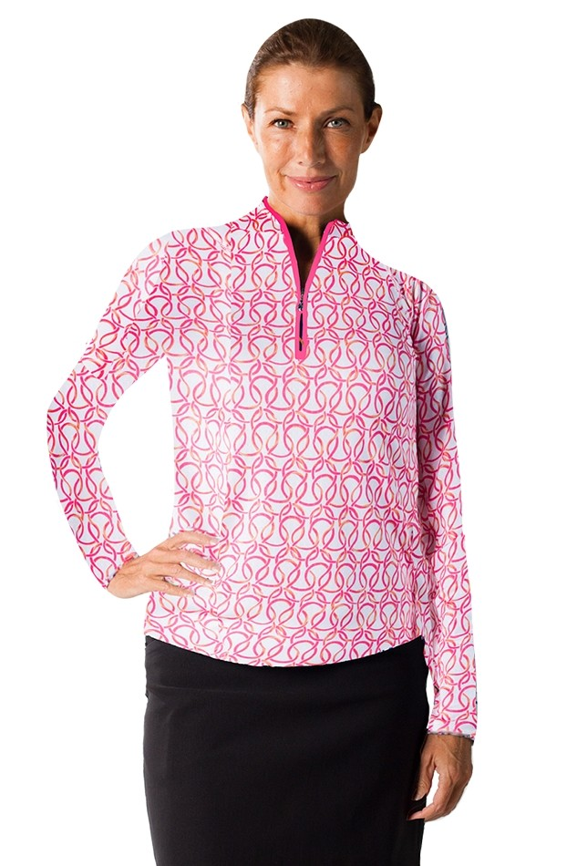 900419 SolTek Print Zip Mock. Looped Pink
