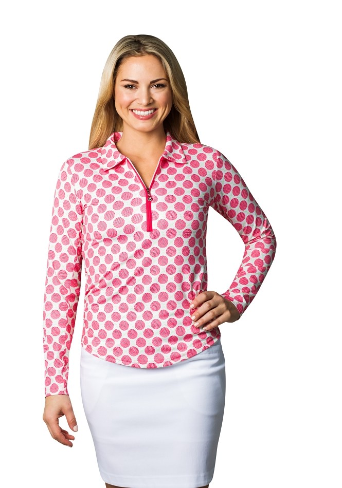 900462 SolCool® ZIP Polo. Seeing Spots Pink