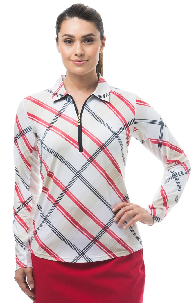 900462 SolCool  ZIP Polo. Hopscotch Plaid. Red w/Tan