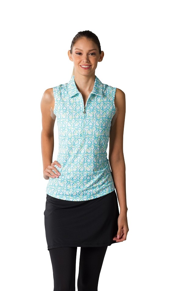 900431 Sleeveless Polo. Looped Turquoise