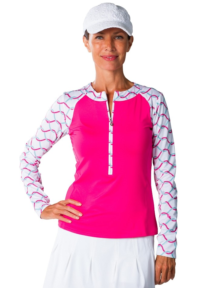 900466 Print Zip Tee SolCool. What Knot Pink