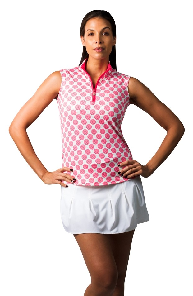 900471 SolCool Sleeveless Polo. Seeing Spots Pink