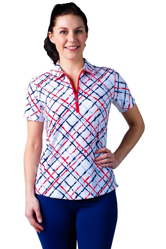 900473 SOLCOOL Fitted Short Sleeve Polo . Hampton PLAID Navy Red