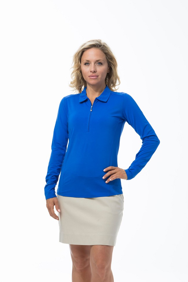 900601 SanSoleil SolTek Ice Zip Polo. Electric Blue