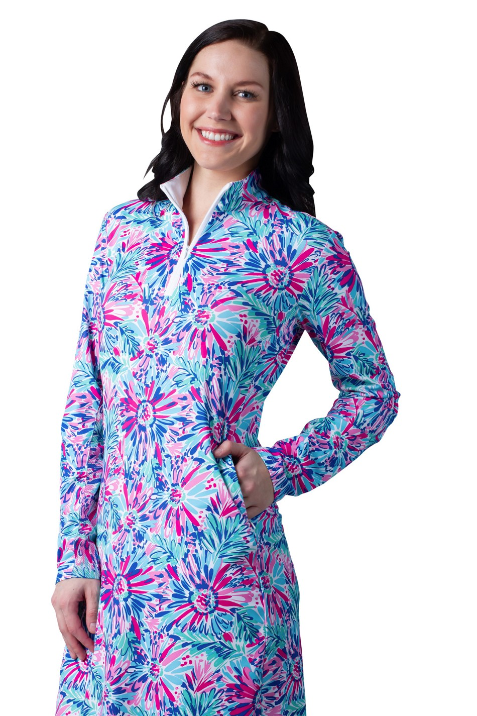 900720-C. SanSoleil SolStyle ICE. Long Sleeve Zip Mock Dress with attached athletic short.  Lola Floral