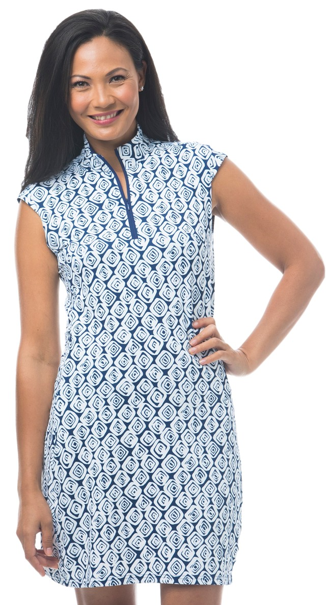 900722C. SanSoleil SolStyle Cool. Sleeveless Zip Mock Dress. Marquise Navy