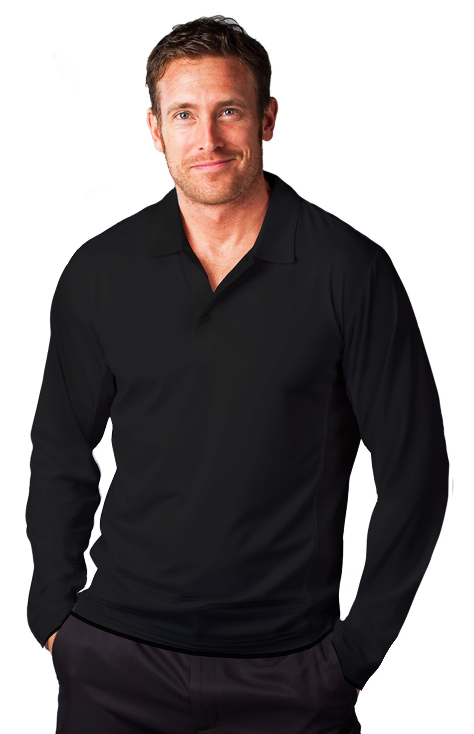 900824 Men's SolCool Button Polo with Men's athletic mesh. Black