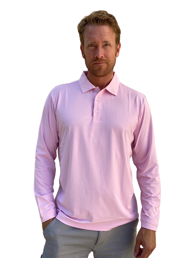 900824C SanSoleil Men's Solcool Long Sleeve Button Polo-Pink