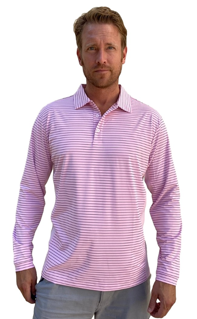 900824S  sansoleil solcool long sleeve stripe polo. Pink with Submarine Blue Stripe