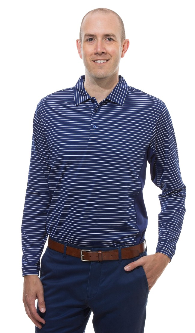 900824S  sansoleil solcool long sleeve stripe polo. Submarine Blue and White Stripe