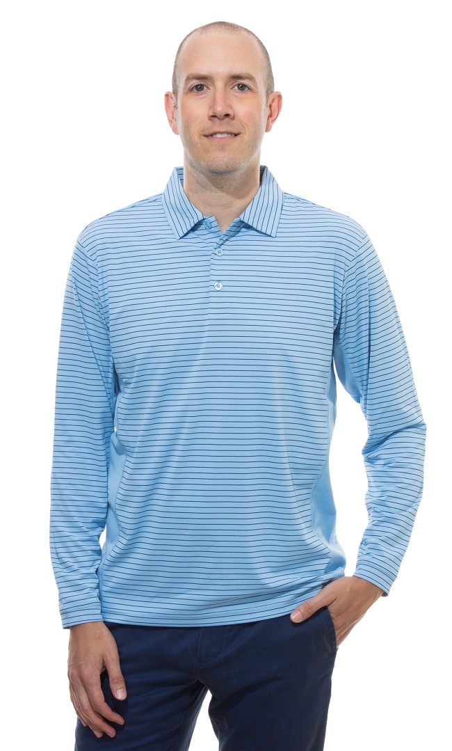 900824S  sansoleil solcool long sleeve stripe polo. Vintage Blue with Submarine Bue Stripe