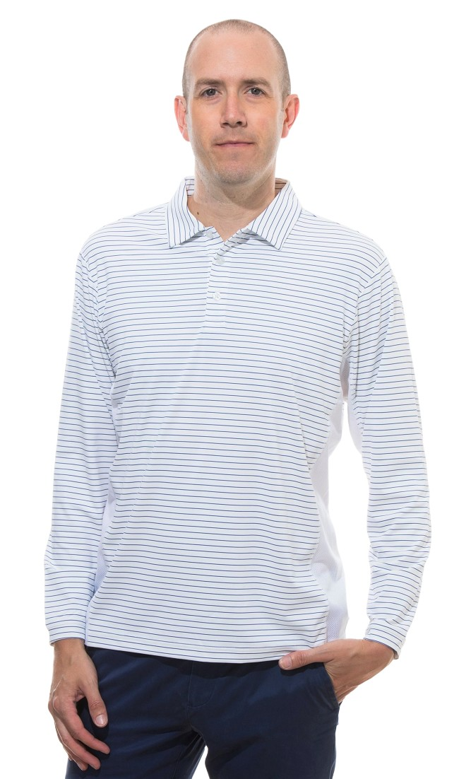 900824S  sansoleil solcool long sleeve stripe polo. white with submarine blue stripe