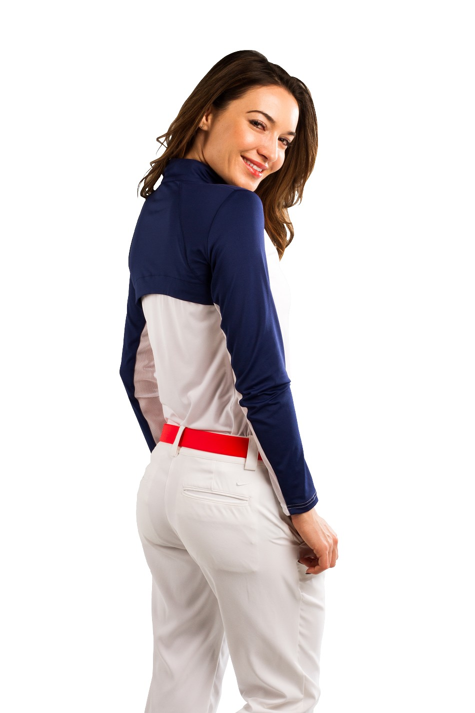 900436 SunGlow Back Vent Zip Mock. White/Navy.