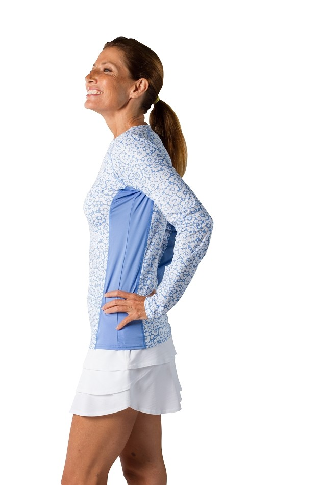 900470 SunGlow Tennis Tee. Daisy Cornflower Blue