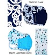 """Snow Leopard Capri and Twisted Navy."" The Mask Bundle that goes with ""The Snow Leopard Capri"" Collection of Prints."