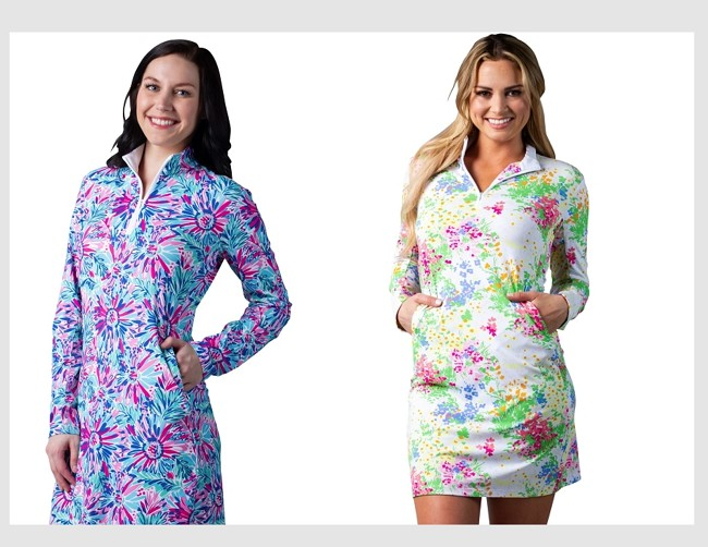 900720I. SanSoleil SolStyle ICE. Long Sleeve Zip Mock Dress with attached athletic short. Lola Floral