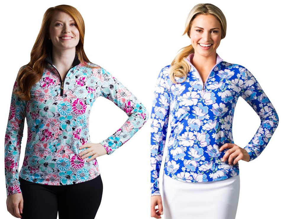 Twofer Womens  xs-xl 900611 Wildflower Mock and 900611 Posies Floral Mock