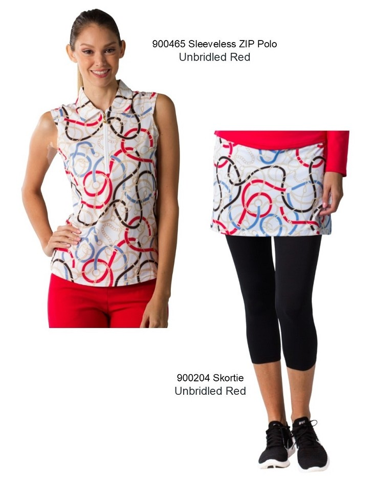 TwoFers 900204 SolCool Skortie Unbridled Red and 900465 Unbridled Red Sleeveless Top. Two piece outfit for $110