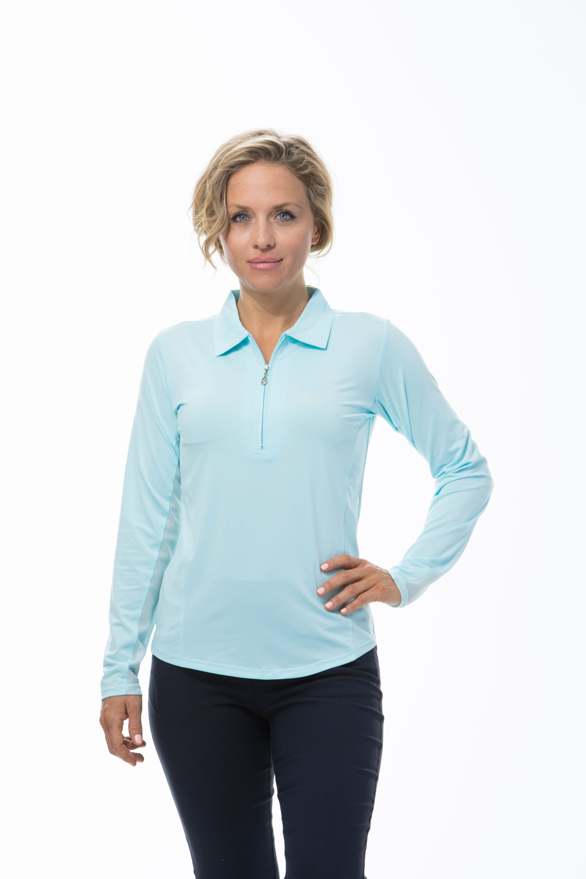 900433 SunGlow Zip Polo. ClearWater Blue