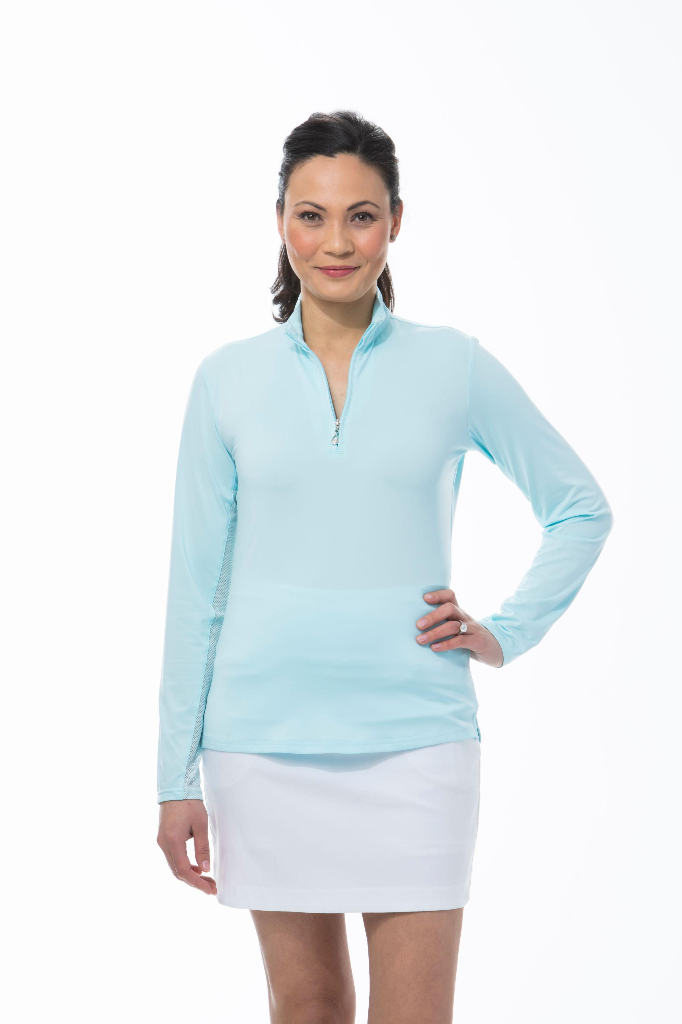 900434 SunGlow Zip Mock. Clearwater Blue