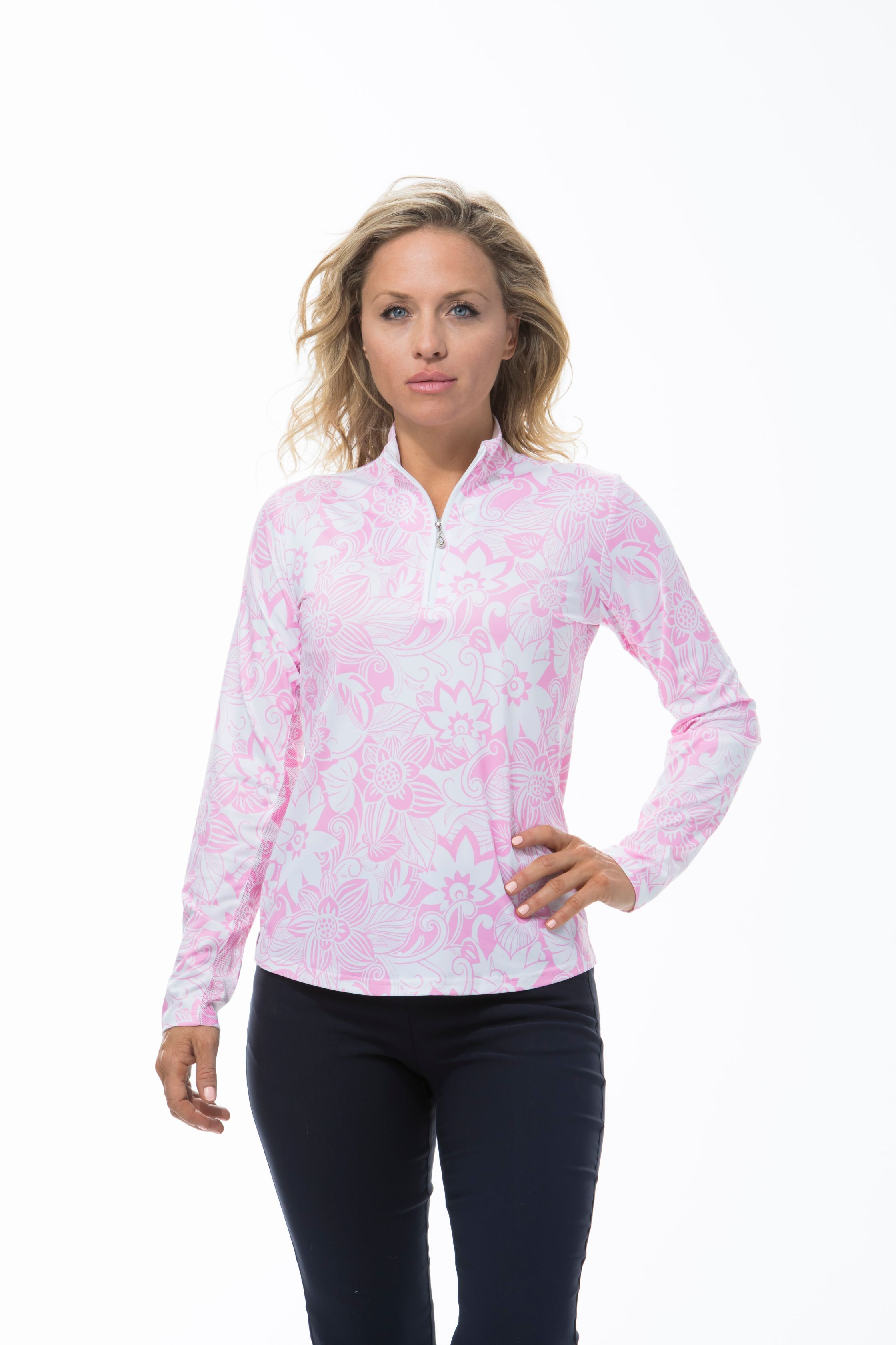 900463 - SolCool Zip Mock. Kona Coast. Pink