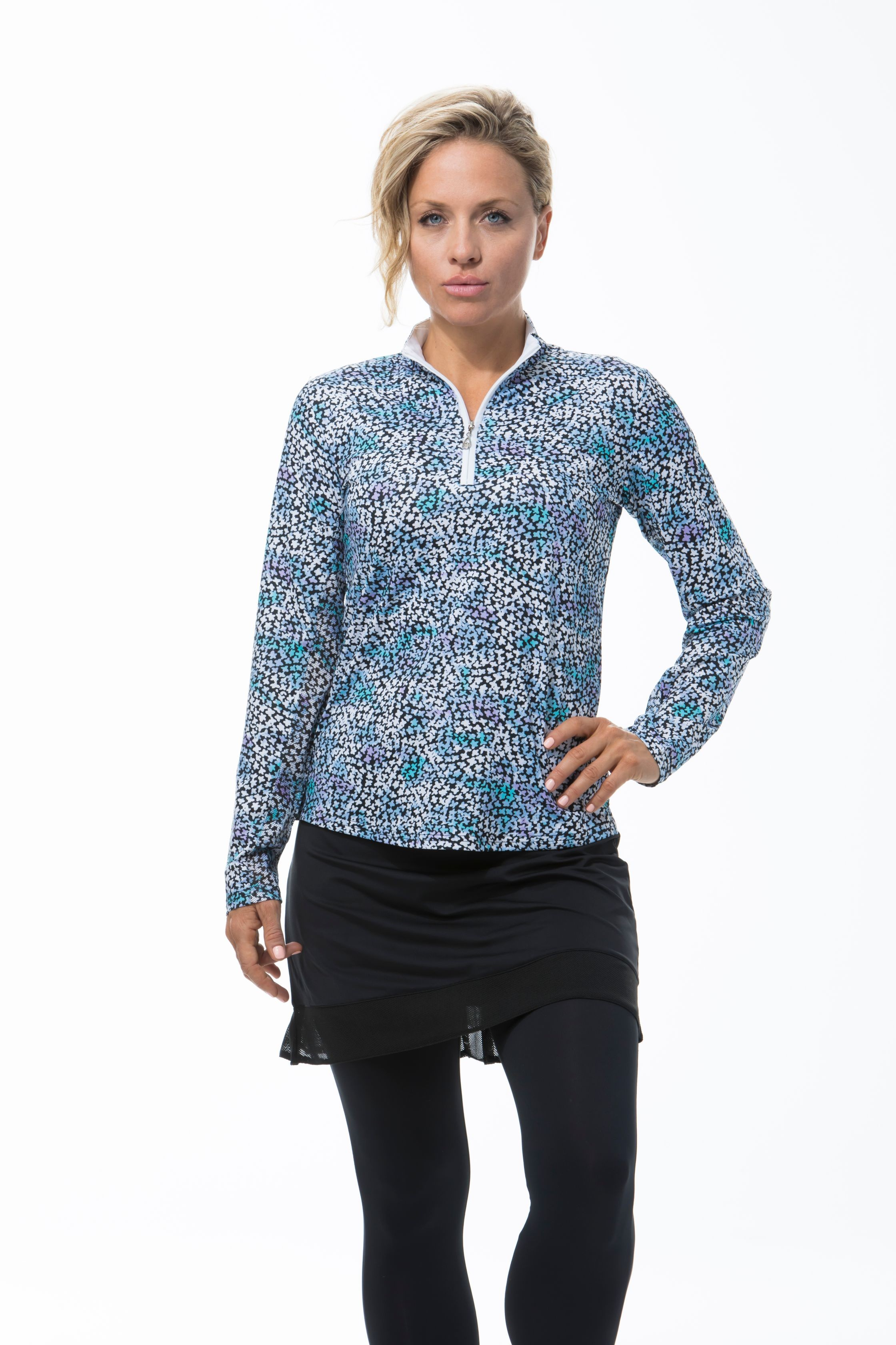 900463 - SolCool Zip Mock Forget Me Knot. Blue