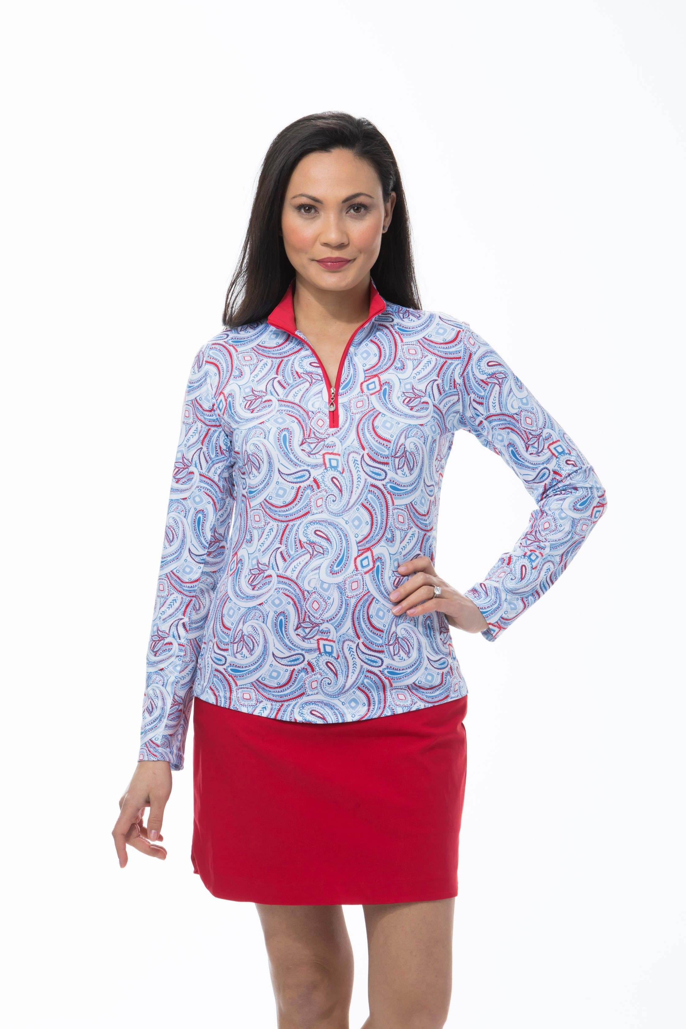 900463 - SolCool Zip Mock Pop Paisley. Blue Red White