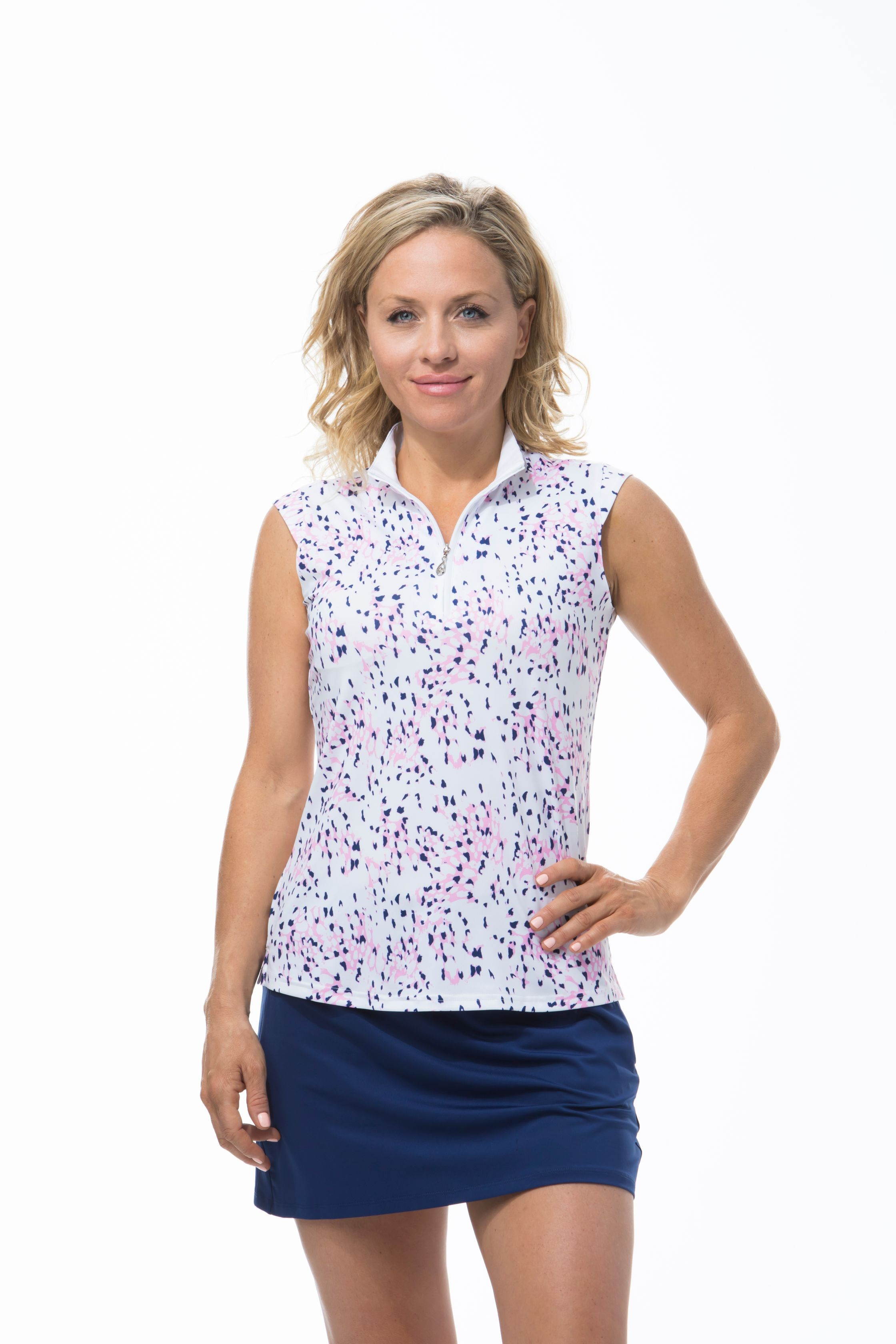 900471 SOLCOOL SLEEVELESS MOCK. Snow Leopard. Pink