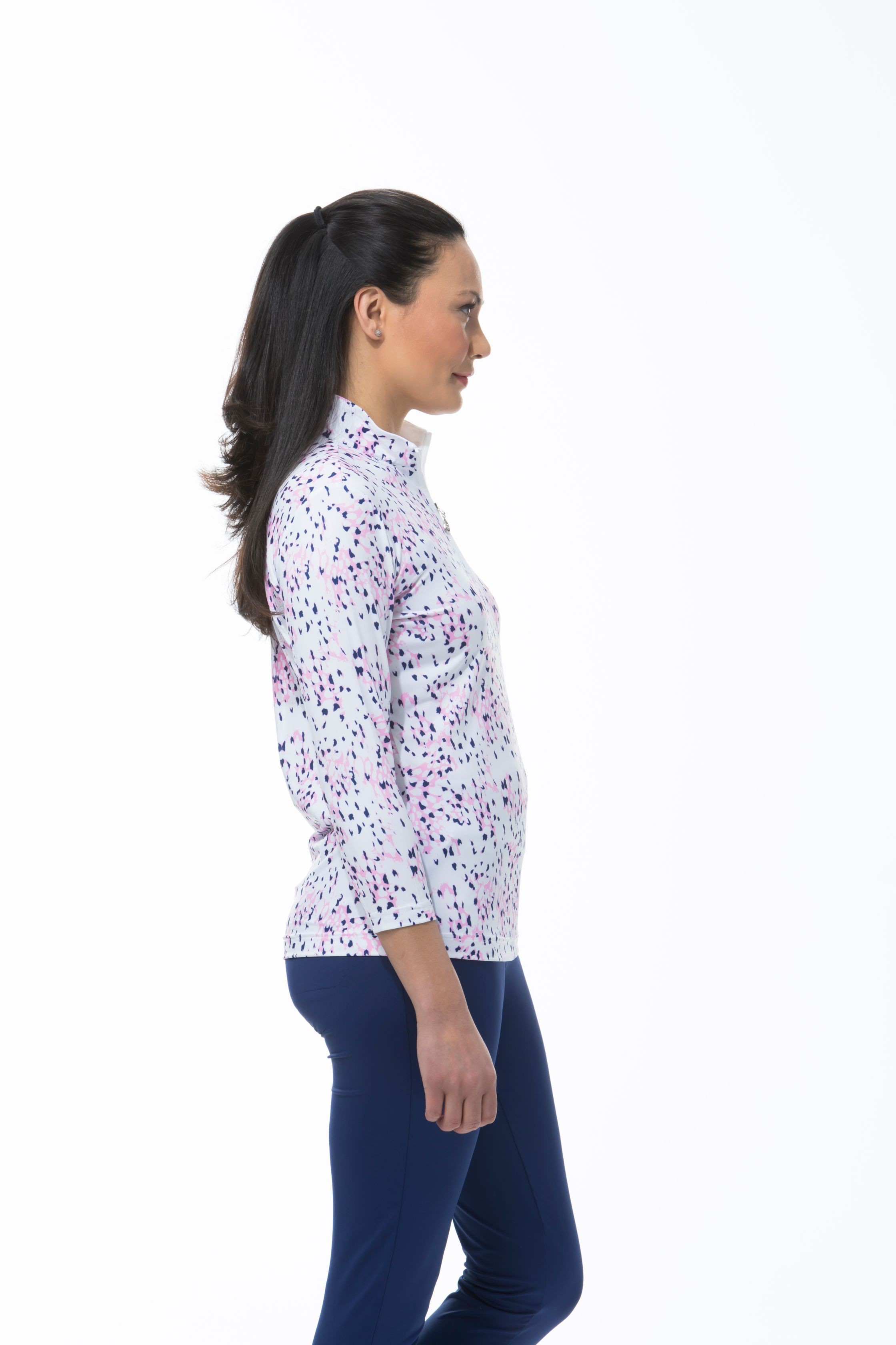 900476 SOLCOOL 3/4 SLEEVE PRINT MOCK - Snow Leopard. Pink